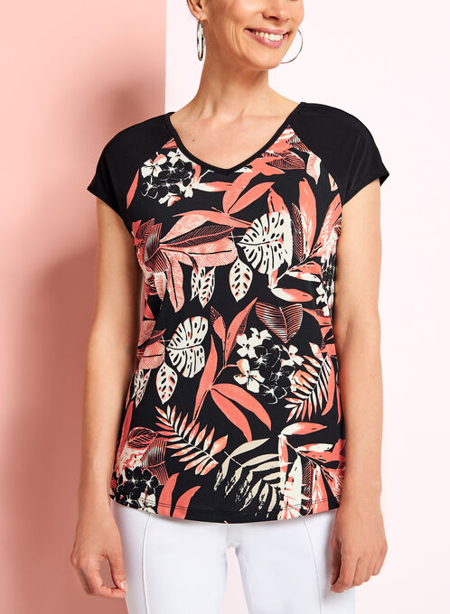 Drop Shoulder Floral Print Top, Black, hi-res