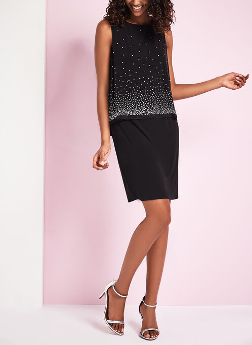 Jersey Studded Popover Sheath Dress, Black, hi-res