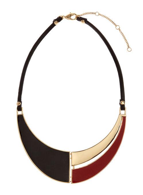 Colour Block Bib Necklace, Red, hi-res