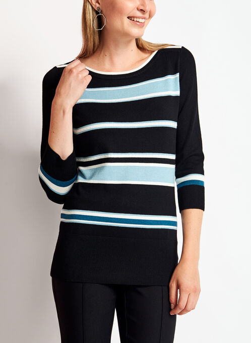 3/4 Sleeve Stripe Print Knit Sweater , Blue, hi-res