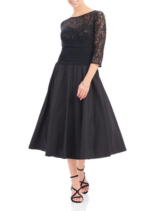 3/4 Sleeve Shantung Sequin Dress , Black, hi-res