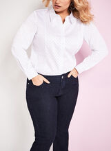Long Sleeve Dot Print Shirt, White, hi-res