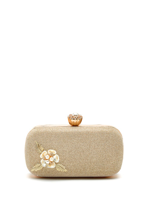 Floral Appliqué Glitter Box Clutch, Gold, hi-res