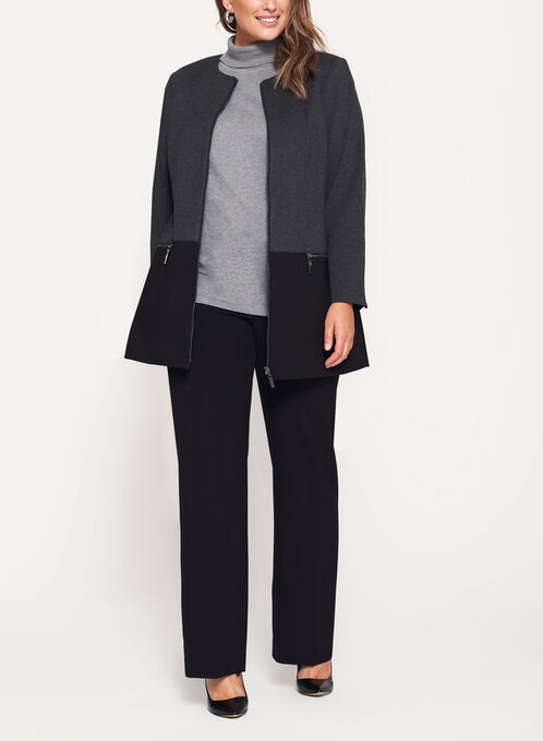 Two-Tone Ponte Jacket, Grey, hi-res