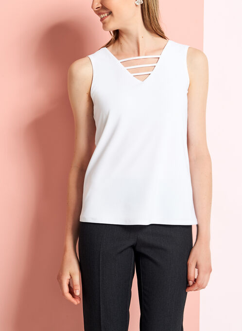 Crepe Knit Cutout Detail Blouse , Off White, hi-res