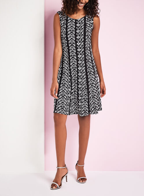 Graphic Print Fit & Flare Dress, Black, hi-res