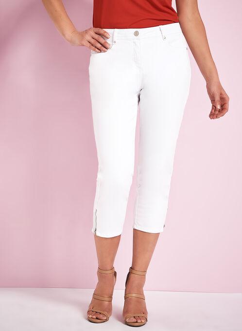 Straight Leg Jean Capris, White, hi-res