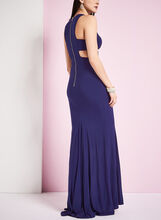 Sleeveless Jersey Evening Dress, Blue, hi-res