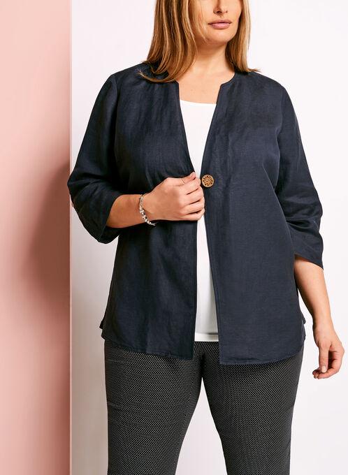 Single Button Linen Blend Jacket, Blue, hi-res