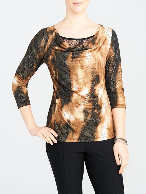 Draped Neck Animal Foil Print & Lace Top, Black, hi-res