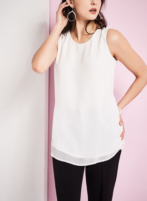 Capelet Back Sleeveless Blouse, Off White, hi-res