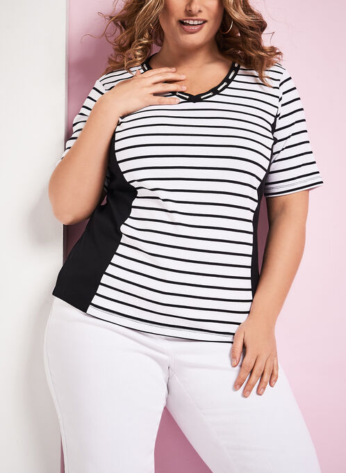 Rope Trim Stripe Print T-Shirt, White, hi-res