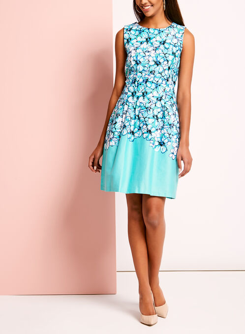 Floral Print Sateen Fit & Flare Dress, Blue, hi-res