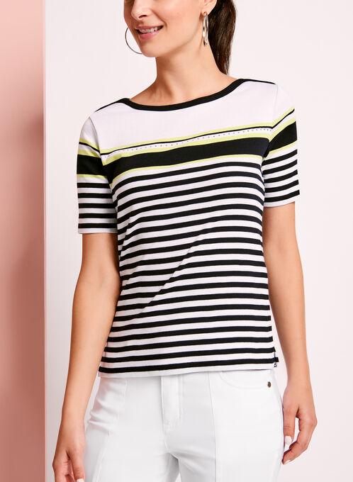 Embellished Stripe Cotton T-Shirt, Blue, hi-res