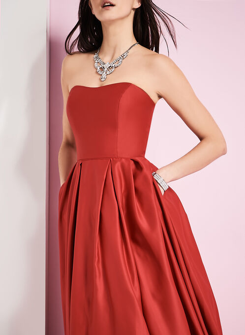 Strapless Satin Ball Gown, Red, hi-res