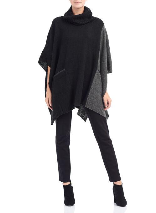 Knit Cowl Neck Poncho, Black, hi-res