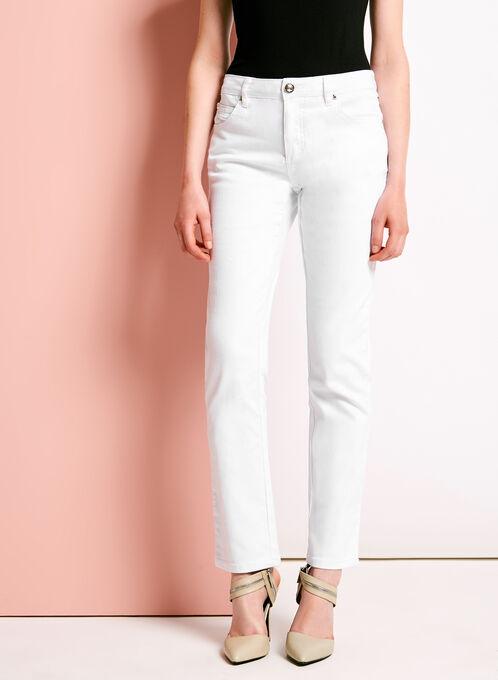 Simon Chang Straight Leg Jeans, White, hi-res