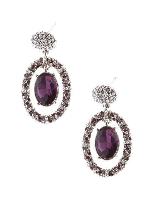 Crystal Center Dangle Drop Earrings, Purple, hi-res