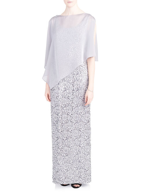 Sequined Lace Gown with Chiffon Poncho, Silver, hi-res