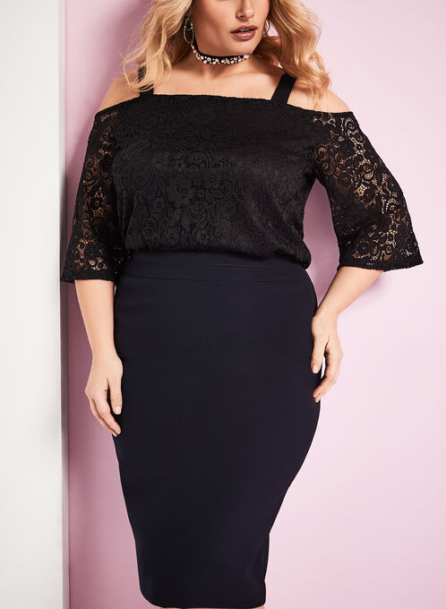 Cold Shoulder Lace Top, Black, hi-res