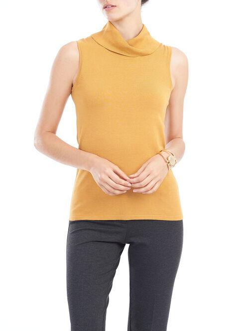 Sleeveless Knit Cowl Neck Top, Yellow, hi-res