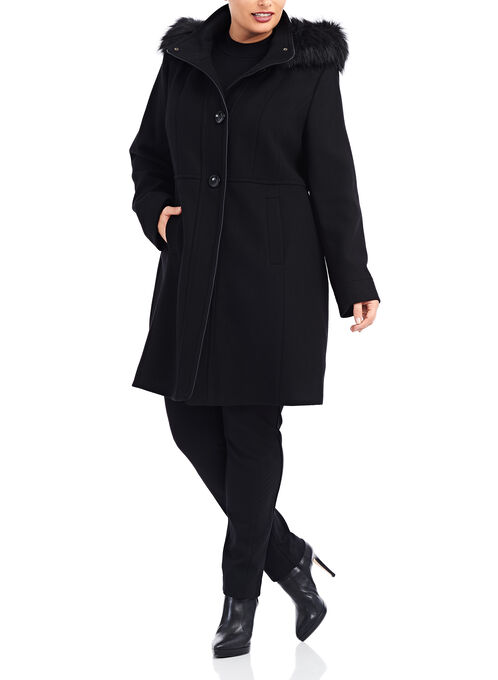 Wool Faux Fur Hooded Coat , Black, hi-res