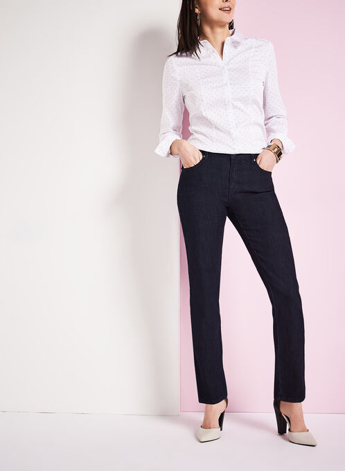 Simon Chang Straight Leg Denim Pants, Blue, hi-res