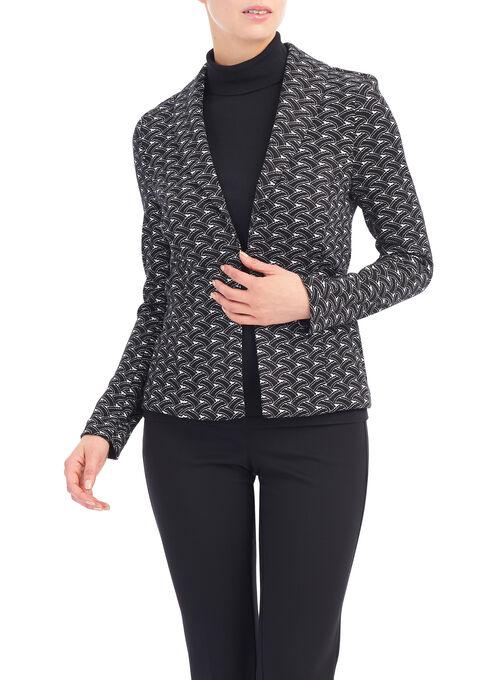 Printed Shawl Collar Blazer, Black, hi-res