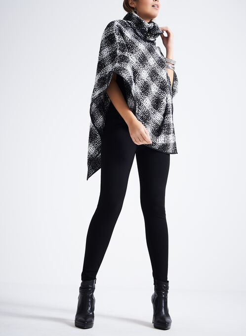Plaid Poncho Scarf , Black, hi-res