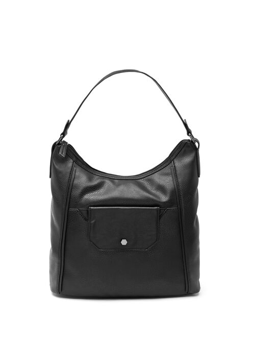 Faux Leather Front Flap Purse , Black, hi-res