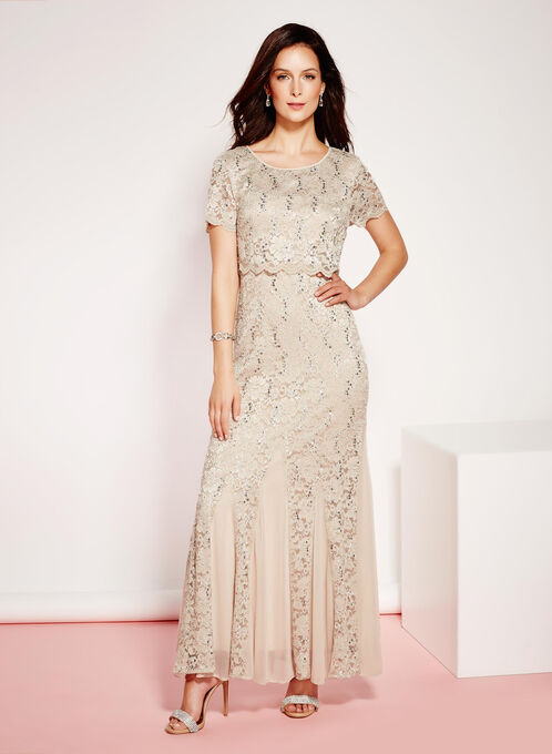 Sequin Lace Popover Mermaid Dress, Off White, hi-res