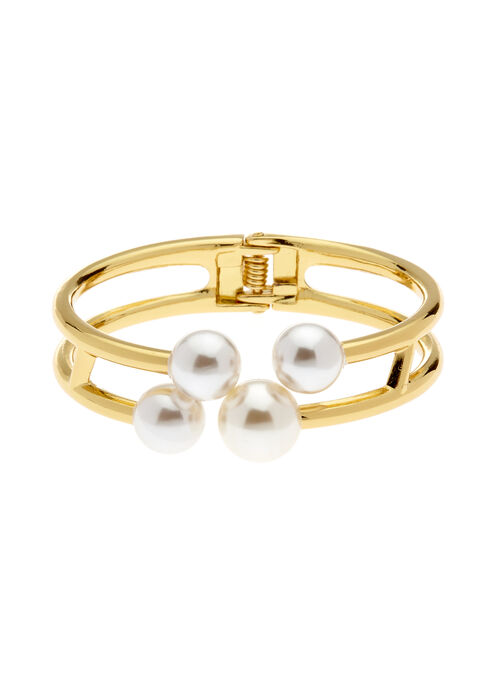 Pearl Tip Double Row Bangle, Off White, hi-res