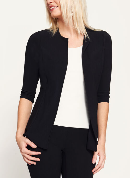 3/4 Sleeve Crepe Cardigan , Black, hi-res