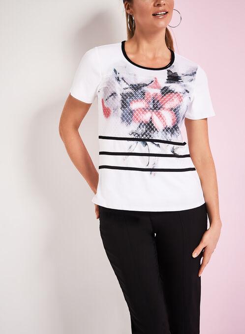 Contrast Trim Floral Print T-Shirt, White, hi-res