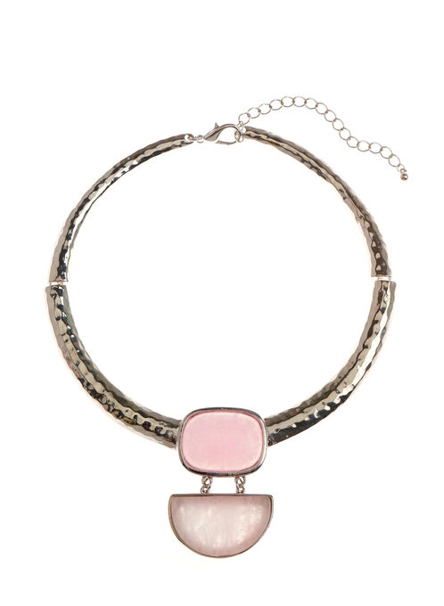 Tiered Stone Pendant Collar Necklace, Pink, hi-res