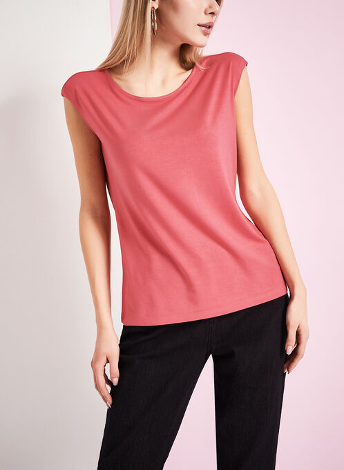 Boat Neck T-Shirt , Pink, hi-res