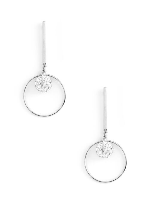 Bar & Circle Drop Earrings, Silver, hi-res