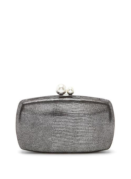 Metallic Box Clutch, Grey, hi-res