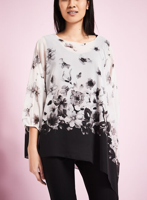 3/4 Sleeve Floral Print Poncho Blouse, White, hi-res