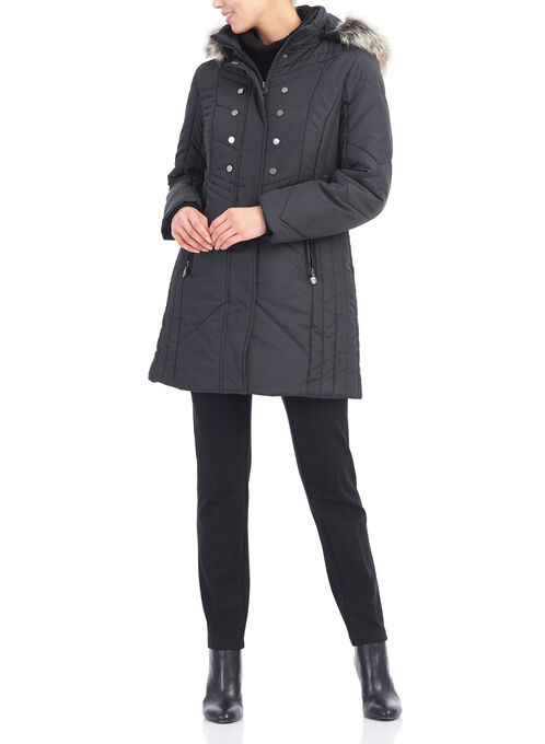 Marcona Faux Fur Polyfill Coat, Black, hi-res