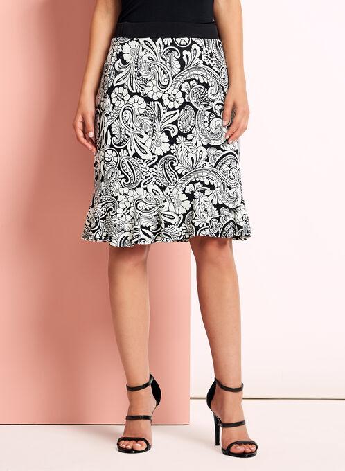 Paisley Print Midi Skirt, Black, hi-res