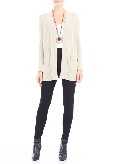 Long Sleeve Pointelle Knit Cardigan, Off White, hi-res