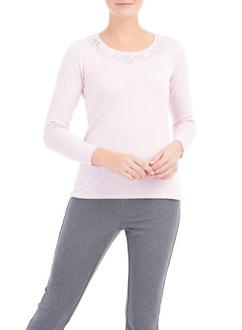 Beaded Neckline Sweater, Pink, hi-res