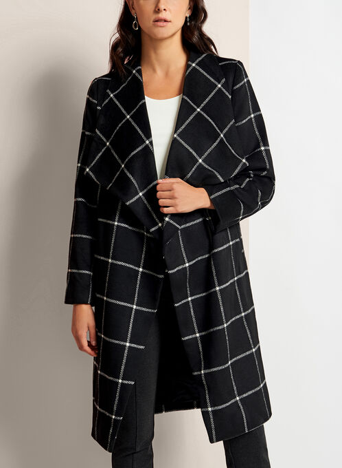 Square Print Open Front Coat, Black, hi-res