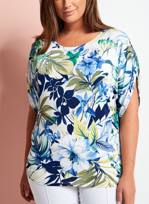 Tropical Print Cold Shoulder Top, Blue, hi-res