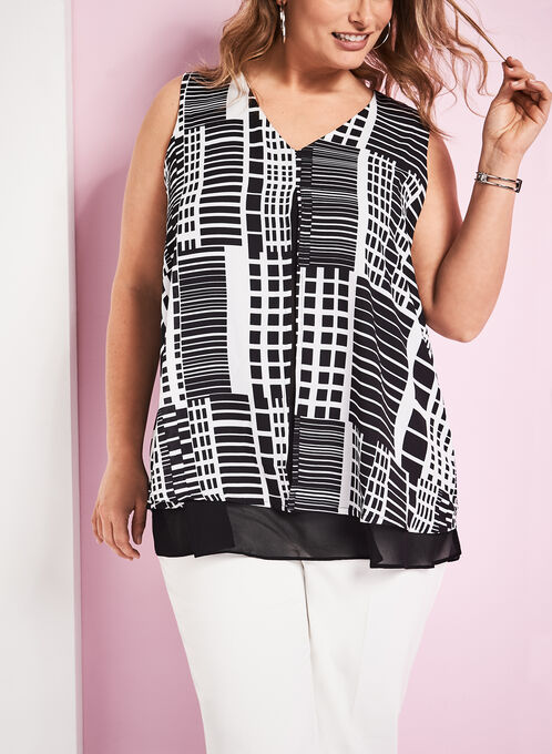 Graphic Print Capelet Blouse, Black, hi-res