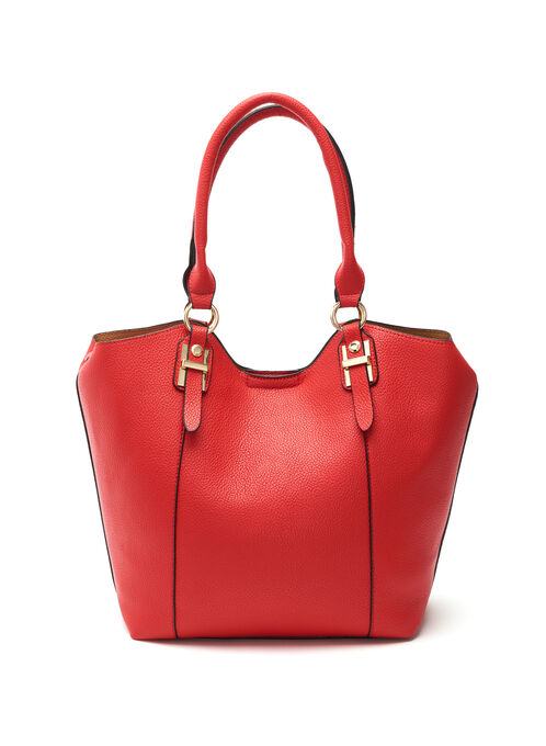 Faux Leather Buckle Trim Handbag, Red, hi-res