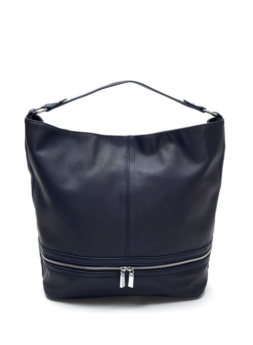 Faux Leather Bucket Purse, Blue, hi-res
