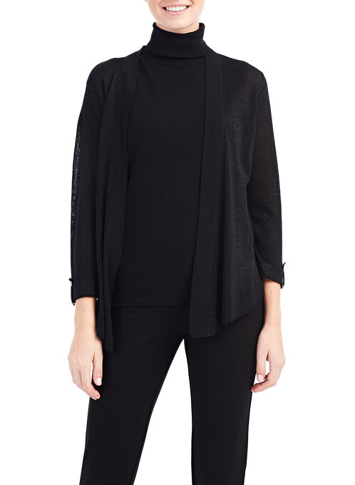Knit Lurex Cardigan , Black, hi-res