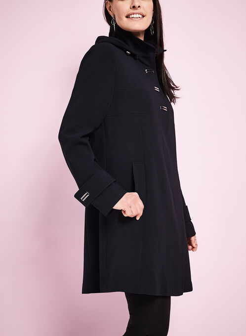 Crêpe Detachable Hood Coat , Black, hi-res